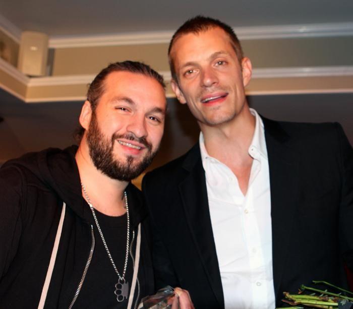 Joel Kinnaman Eliason Merit Award recipient 2014: Kinnaman with last year's award recipient Steve Angello of Swedish House Mafia.