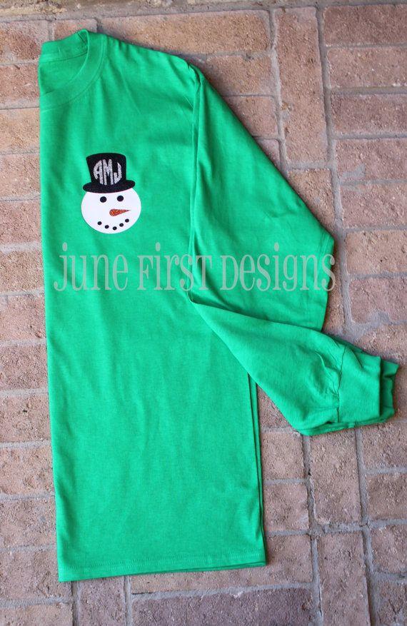 Monogram+Snowman+Christmas+Glitter+Tee+TShirt+by+JuneFirstDesigns,+$23.00