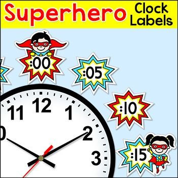 Telling Time Clock Labels & Worksheets - Superhero Theme: These fun superhero kids theme telling time clock labels will look fantastic around your classroom clock and encourage your students to practice telling time! This product can be purchased at a discount of 60% off as part of my Superhero Kids Theme Decor Bundle Part 2.