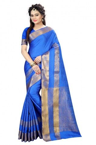 13a61eef8a Buy Mannequin Store Self Design Blue Jacquard Saree at low prices in India  only on Winsant.com FREE SHIPPING #saree #designersaree #indian #ethnic ...