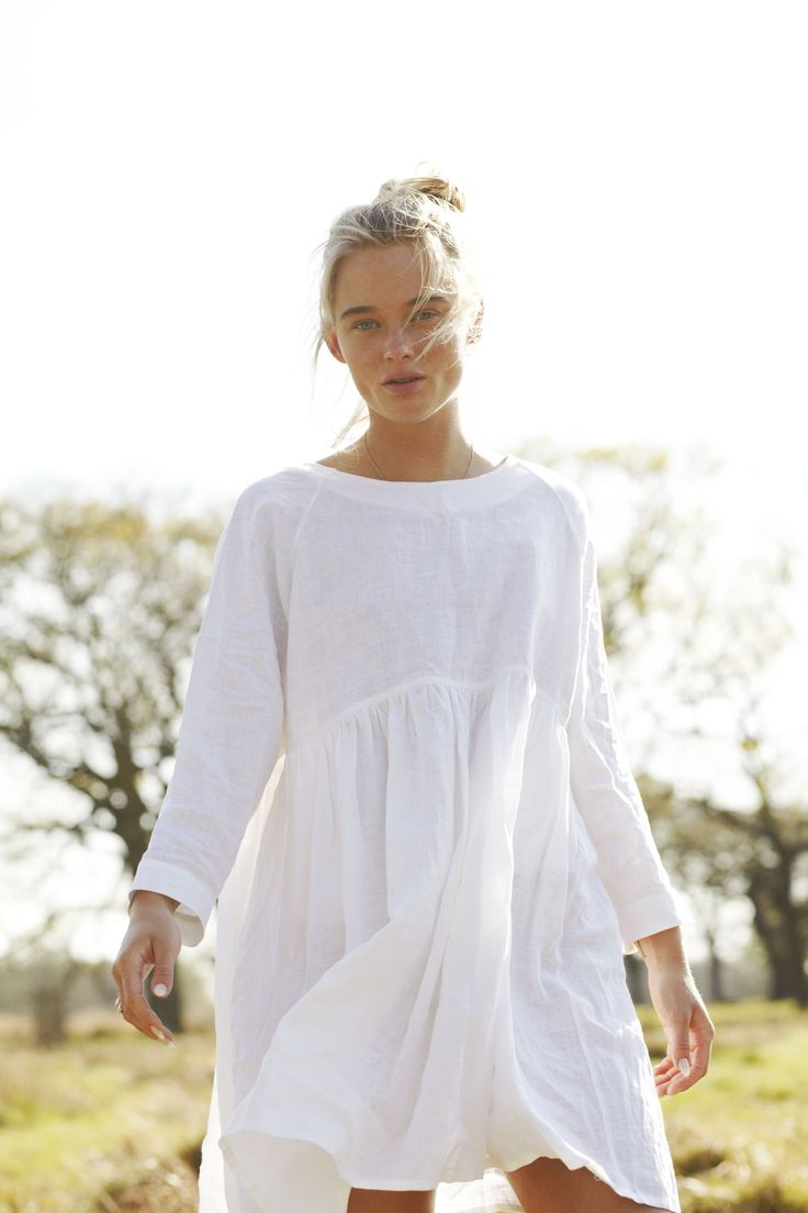 Cabbages & Roses White Smock Dress