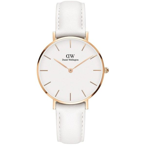 Daniel Wellington Women's Classic Petite 18K Rose Goldplated Japanese... (8,525 PHP) ❤ liked on Polyvore featuring jewelry, watches, white, rose gold plated jewelry, daniel wellington watches, water resistant watches, white jewelry and white leather strap watches