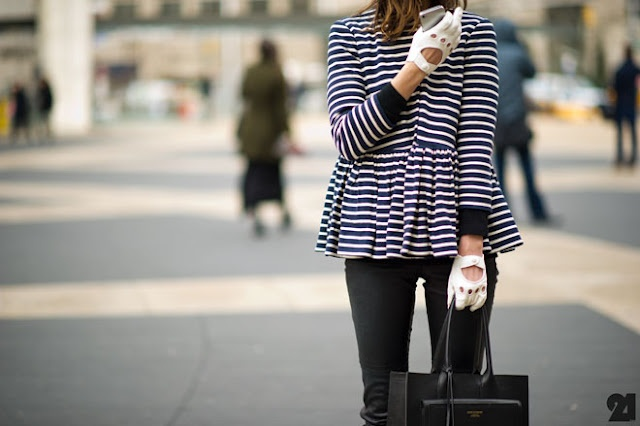 Peplum, skinnies and motorcycle gloves. PERFECT.: Driving Gloves, Style Inspiration, Peplum Jackets, Street Style, Peplum Color Pink, Stripes, Leather, Black, Peplum Dresses