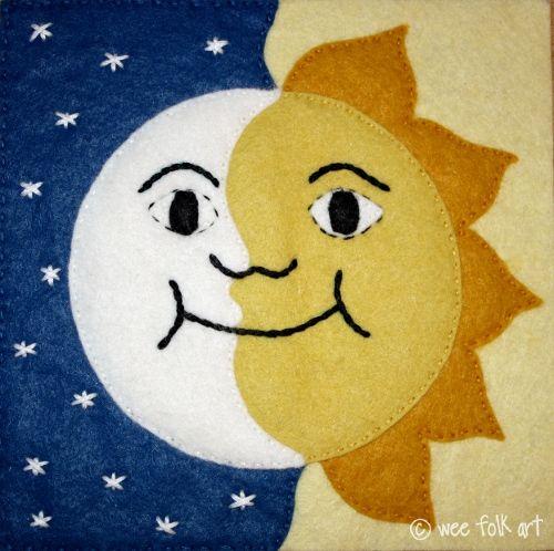Sun and Moon Applique Block   Wee Folk Art