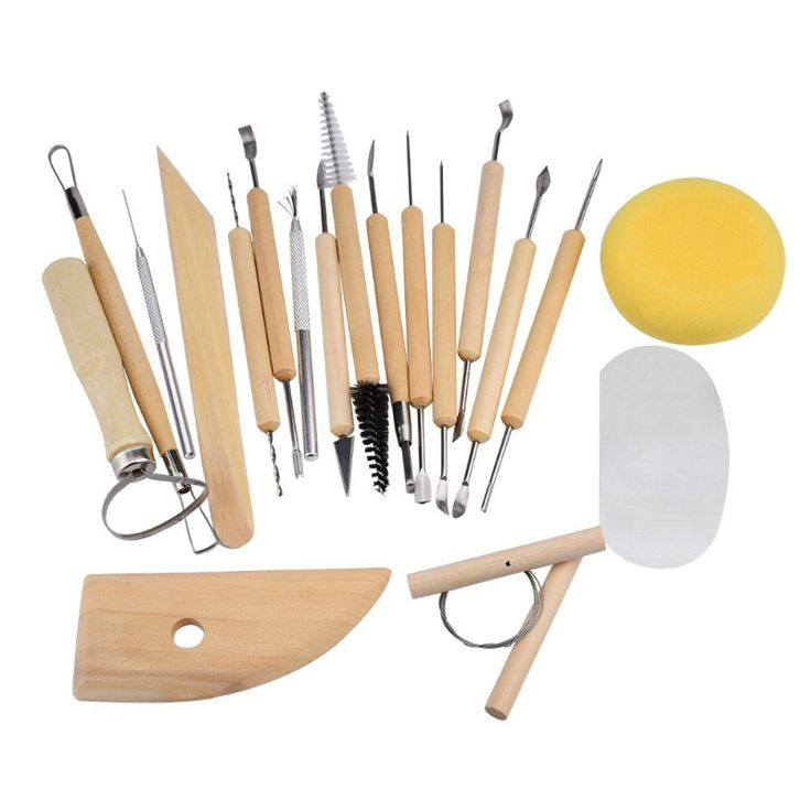 19pcs Clay Sculpting Sculpt Smoothing Wax Carving Pottery Ceramic Tools Wood Handle Set HG99