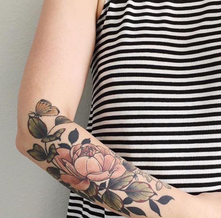 Flowers by Kristen Holliday @ Wonderland Tattoos, Portland, OR