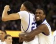 Wildcats forward Michael Kidd-Gilchrist and forward Anthony Davis celebrate their victory over Louisville in the Final Four semis.