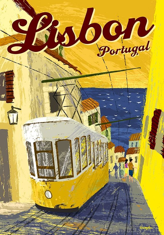 travel poster for lisbon portugal showing one of the famous yellow funiculars michael crampton. Black Bedroom Furniture Sets. Home Design Ideas