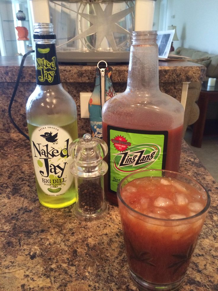 Dill Pickle Vodka and Zing Zang Bloody Mary Mix with ground pepper and olives - yum!