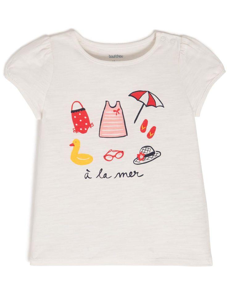"""T-shirt manches courtes """" A la mer"""" MONOPRIX design Florence Aurensan"""