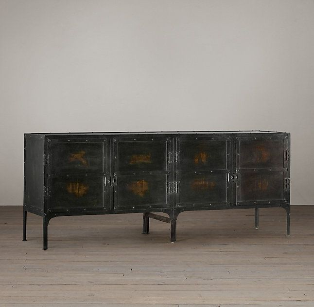 RH's Industrial Tool Chest Sideboard:A circa 1900 toolbox from a French automobile factory inspired our expanded version, perfectly suited to life as a console or sideboard today.