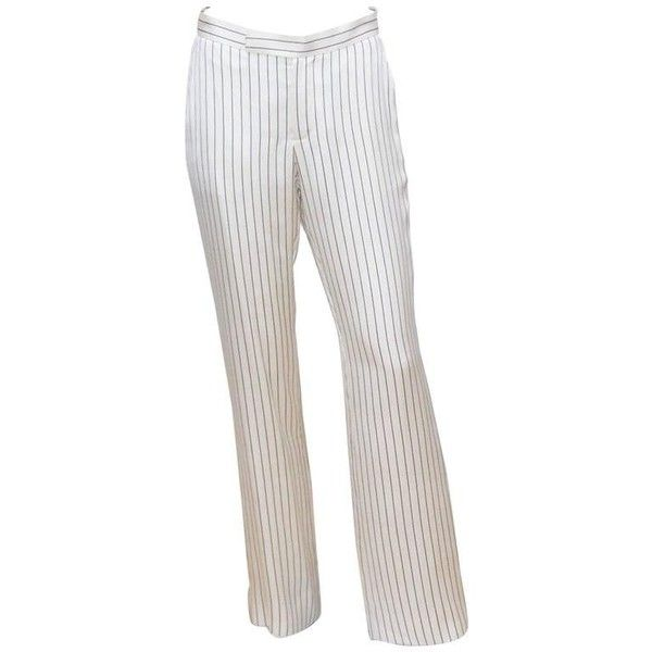 Preowned C.1990 Ralph Lauren Menswear Style Blue & White Pinstripe... ($225) ❤ liked on Polyvore featuring men's fashion, men's clothing, men's pants, men's dress pants, flat front pants, white, mens elastic waistband pants, mens silk dress pants, ralph lauren mens pants and mens white dress pants