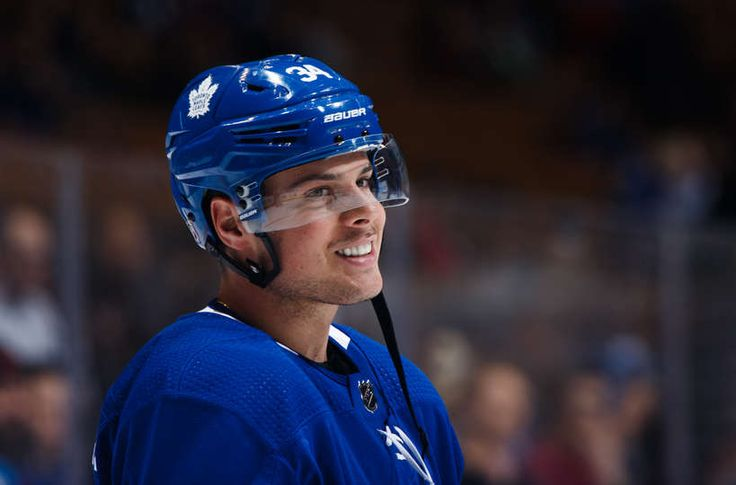 Auston Matthews #34 of the Toronto Maple Leafs smiles during warm up before the Leafs face the Colorado Avalanche at the Air Canada Centre on January 22, 2018 in Toronto, Ontario, Canada