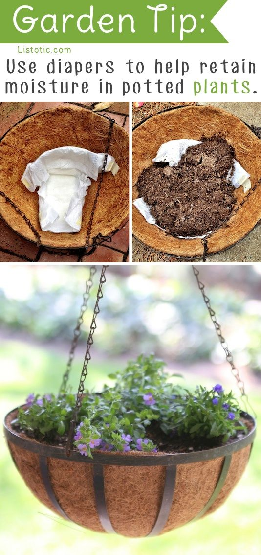 Use diapers to retain water in potted plants!