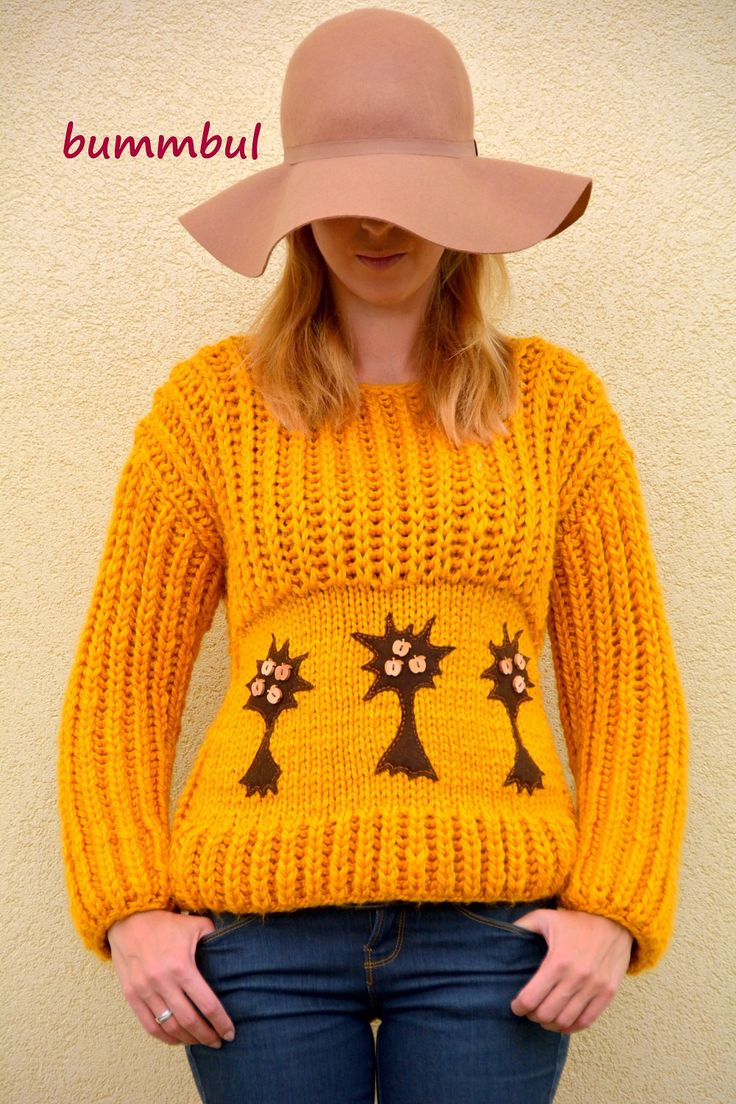 Knit sweater for women , Wool sweater, hand knit sweater, Stylish sweater, hand knitted sweater with felt trees, M size ,  womens clothing - pinned by pin4etsy.com