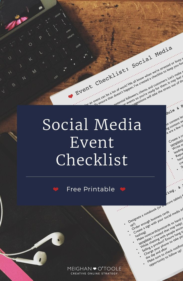 wedding planning checklist spreadsheet free%0A Free Printable  Event Checklist for Social Media