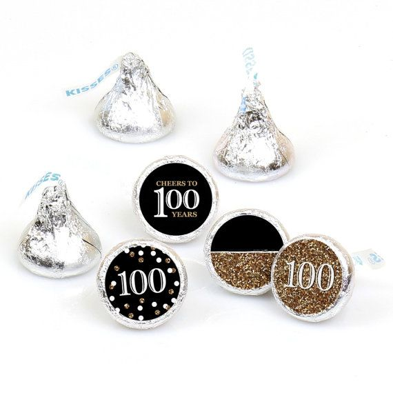 Hershey Kiss® Stickers - 100th Birthday - Gold - Round Candy Label Party Favors - Gold Birthday Party - Hershey Kisses Labels 108 per Sheet