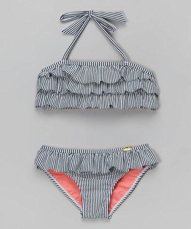 This Navy Ruffle Seersucker Bikini - Toddler & Girls by Jessica Simpson Collection is perfect! #zulilyfinds