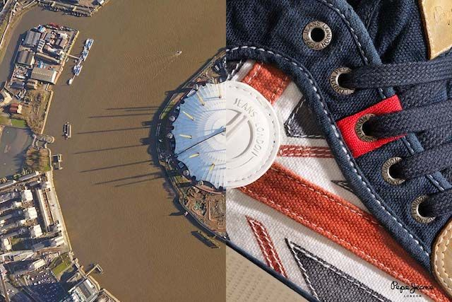 Joseph Ford ad campaign for  Pepe Jeans blending London images with photography of jeans http://www.josephford.net/