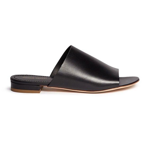 Mansur Gavriel Leather flat mules ($395) ❤ liked on Polyvore featuring shoes, black, leather flat shoes, flat mules, mansur gavriel, black shoes and black mule shoes