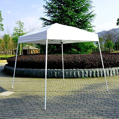 Lunarland Outdoor 8 x 8 Slant Leg Easy PopUp Sun Shade Canopy Gazebo Party Tent White ** More info could be found at the image url.