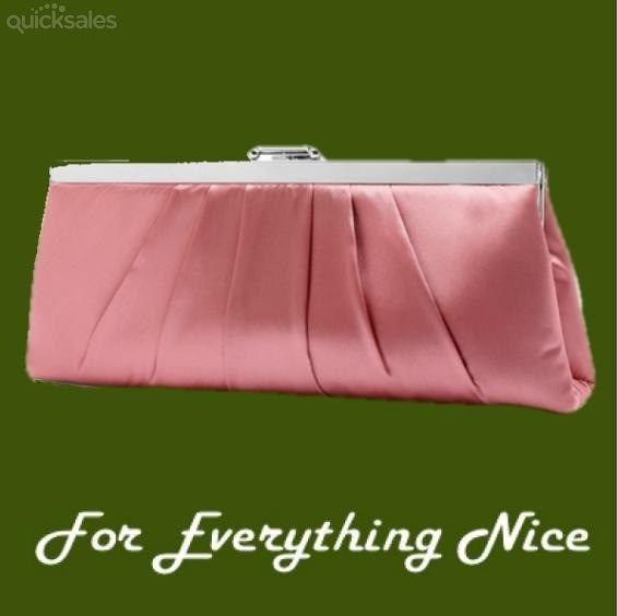 Candy Pink Sleek Gathered Pleats Satin Evening Bag Bridal Purse by JRMB7339 - $60.00