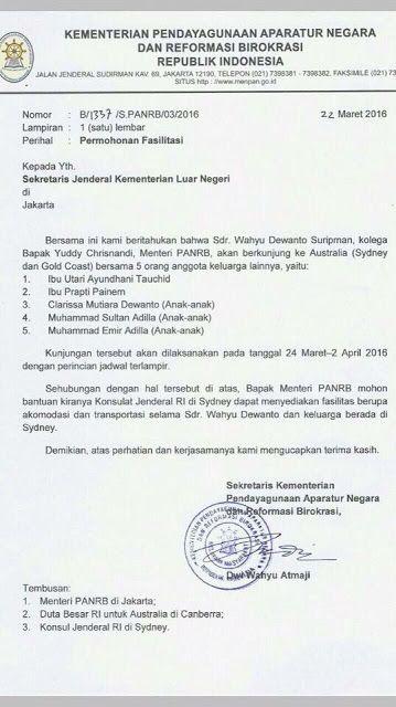 Bocoran Surat Menteri PANRB Meminta Fasilitas Yang Seharusnya Bukan Tanggungan…