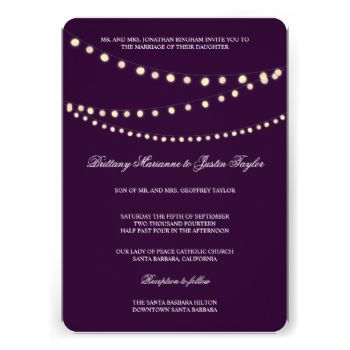 Elegant white traditional text layout with bride and grooms parents. Glowing string lights (strand lights) give it a romantic feel. Gold backer is optional and can be removed. Great for outdoor country, garden and vineyard weddings. Plum purple background color. Corresponding RSVP Card: Glowing Bistro Lights Wedding RSVP Card by beckynimoy Look at more Bistro lights wedding rsvp Invitations at zazzle INVITATION also available in HORIZONTAL FORMAT: Glowing Bistro Lights Wedding Invitation by…