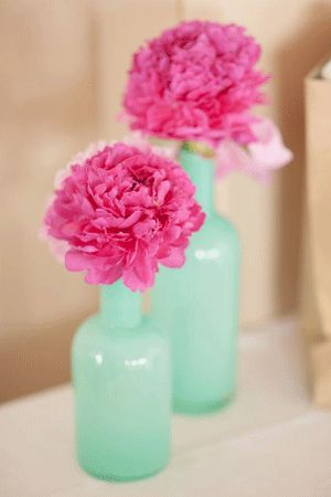 Mint and pink vase