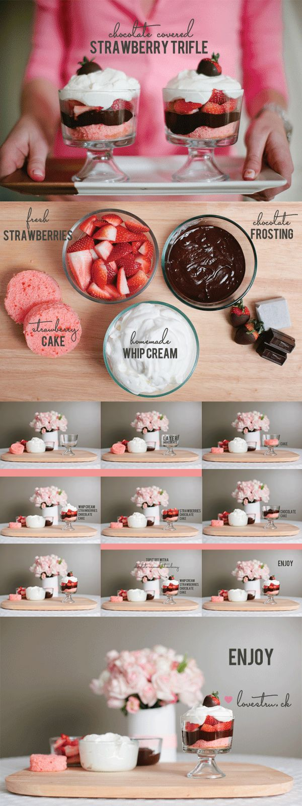 Chocolate covered strawberry trifle  http://ohthelovelythings.blogspot.com/2012/02/chocolate-covered-strawberry-trifle.html