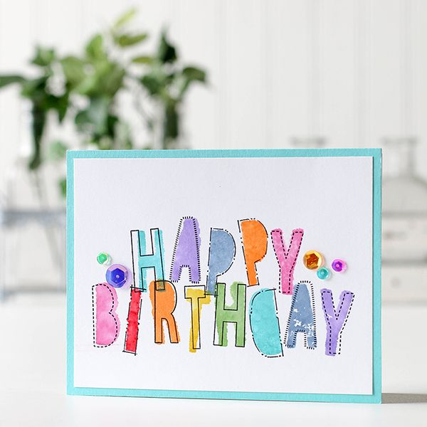 Happy Birthday card featuring the new WPLUS9 alphabet stamp! We are obsessed! https://www.simonsaysstamp.com/product/Simon-Says-Stamp-MASTERPIECE-BOX-Master16-Master16