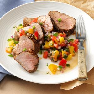 Caribbean-Spiced Pork Tenderloin with Peach Salsa  * My new favorite summer meal!  I used mango instead of peach & loved it.