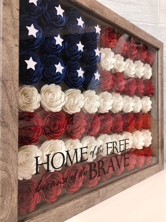 """Personalized American Flag """"Home of the Free because of the Brave"""" Shadow Box with photo – Great Gift for Military or your favorite Veteran"""