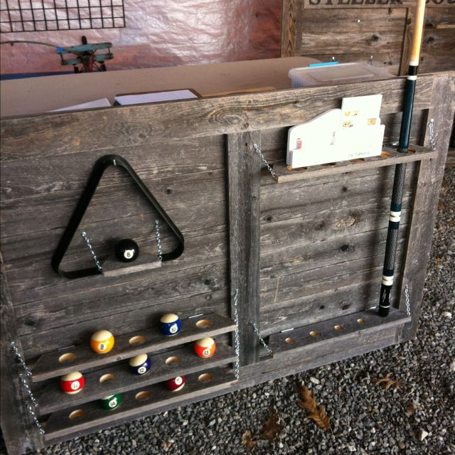 Cool pool cue organizer made by www.tamarascreativethoughts.com