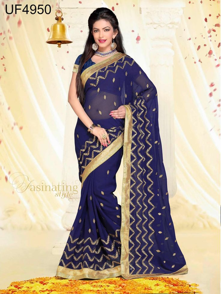 buy saree online Navy Blue Colour Foux Georgette Party Wear Saree Buy Saree online UK  - Buy Sarees online