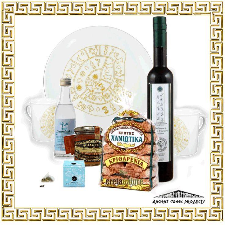 Gift Box : 1. Organic Extra Virgin olive oil 500ml 2.Barley rusks Claniotika 3.Thyme and botans' honey 'Psiloritis' 4.Oreanthi 5.Cretan Raki 6.Phaistos Disc, Plate 7.Phaistos Disc, Mug