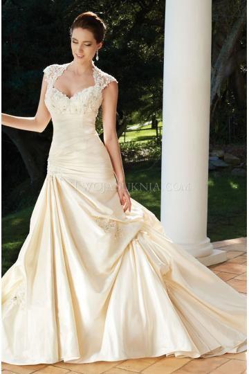 A-linie V-ausschnitt Schöne Brautkleider aus Satin mit Applikation
