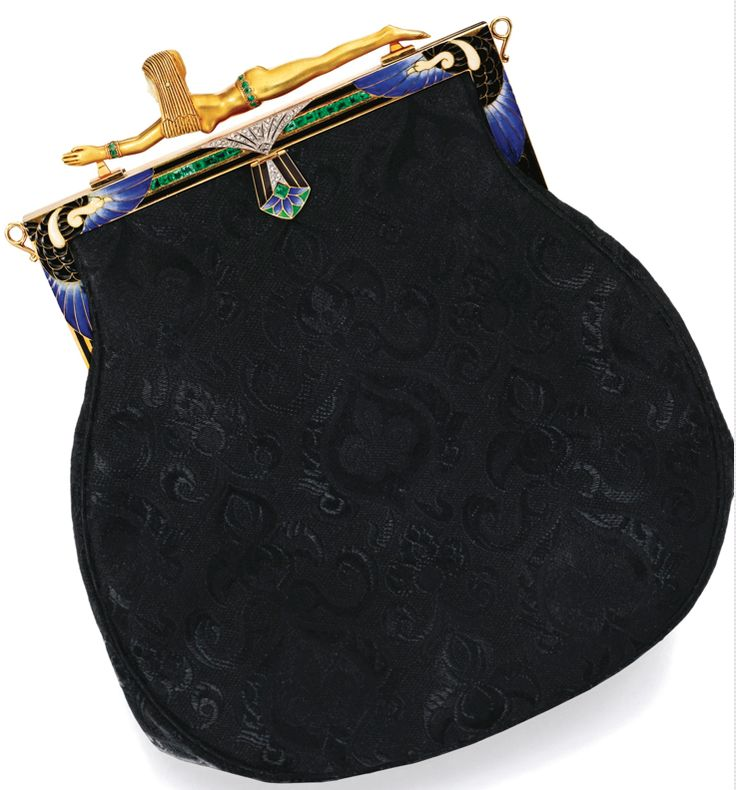Third of a trio of art deco handbags from 1920s-30s w/ bejewelled clasp made of enamelled gold set w/ Lapis lazuli and other coloured stones and embellished with tiny diamonds.