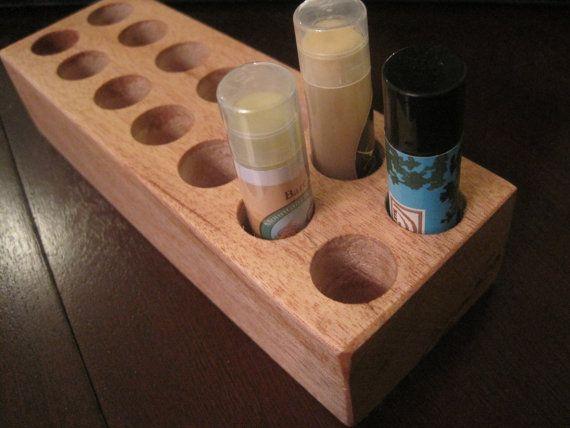 Natural Mahogany Lip Balm holder by TimberWoodsWares on Etsy, $21.00