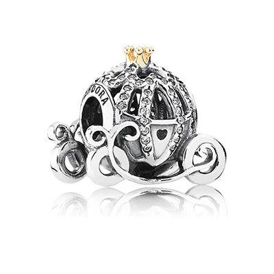 Disney Cinderella pumpkin coach silver charm with 14k gold crown detail and cubic zirconia. #PANDORAlovesDisney