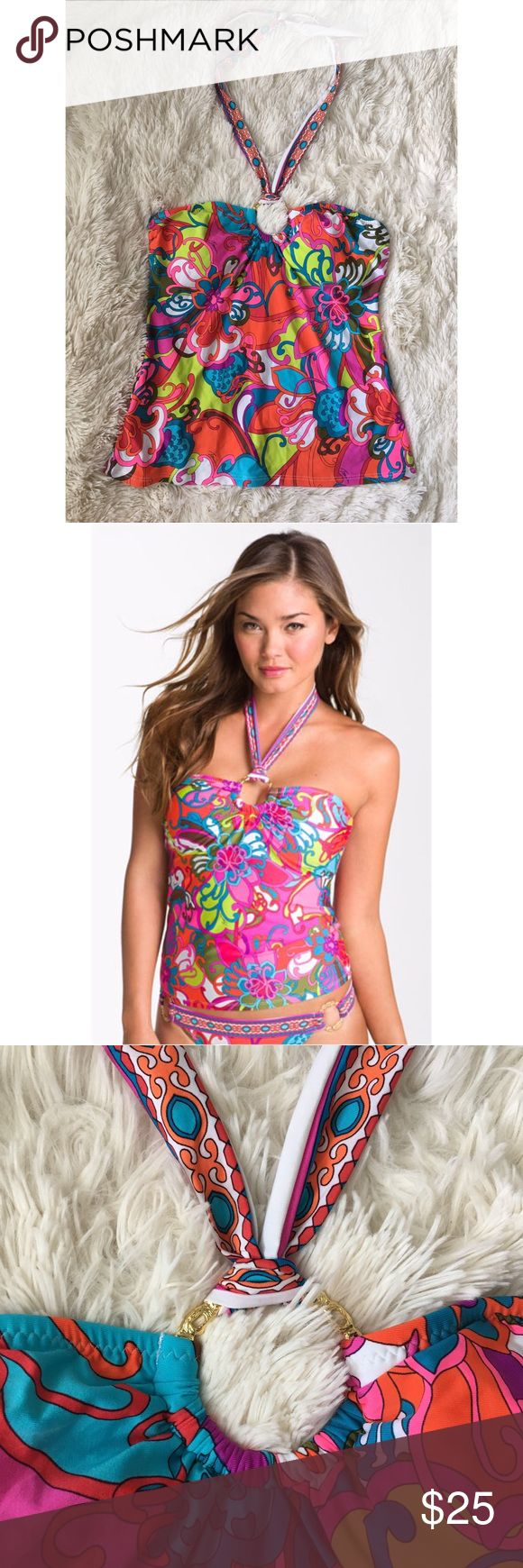 """Trina Turk Fiji floral tanking top Tropical flowers splash riotous color over a bandeau top suspended from soft halter ties by a golden ring. A shelf-bra with lightly padded cups offers comfortable shaping.  * Ties behind neck.  * Removable padding.  * Approx. length from top center front: 14"""".  * Nylon/spandex; hand wash.  * By Trina Turk   Size 4. Trina Turk Swim"""