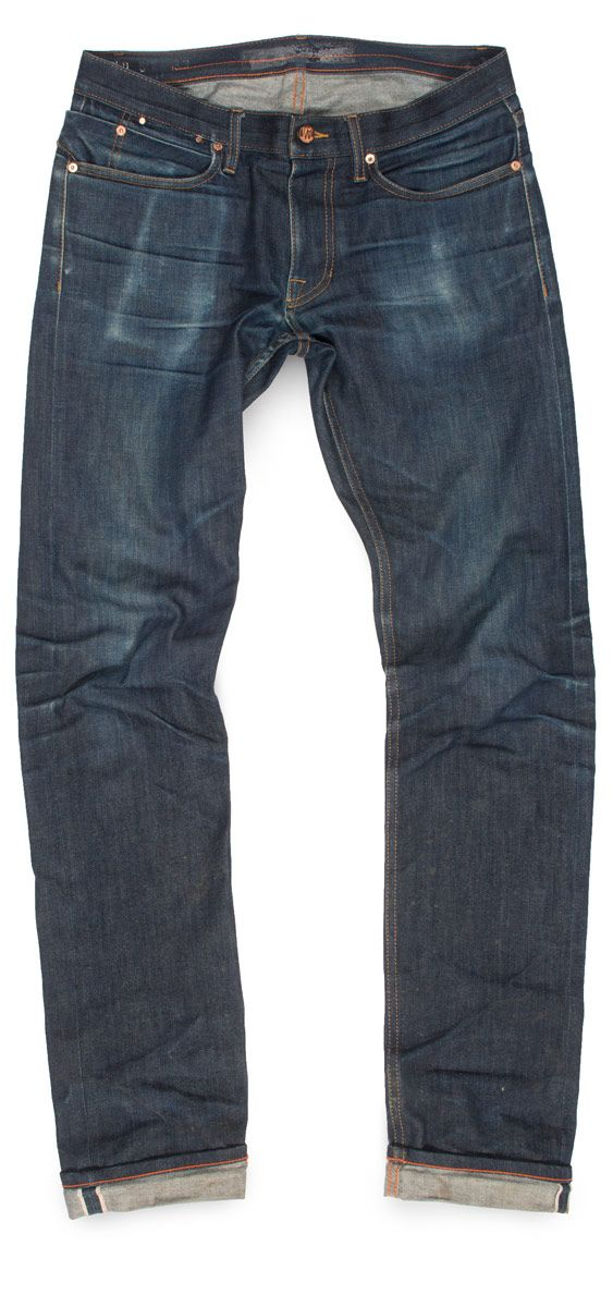 men's dark faded raw denim jeans never washed