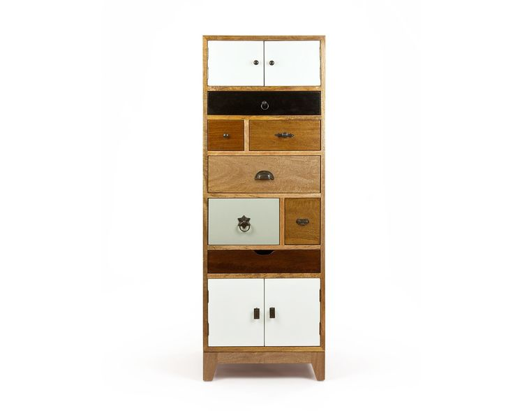 Artisan Tall Multi Chest-A quirky vintage inspired Tall Multi Chest perfect for fitting into even the smallest of bedrooms or living areas. This stylish wooden storage solution has seven drawers and two cupboards, all measuring different sizes, ideal for storing away smaller clothing items or keeping knick-knacks out of sight.