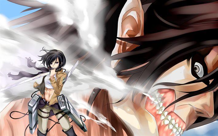 Download wallpapers Attack on Titan, Mikasa Ackerman, 4k