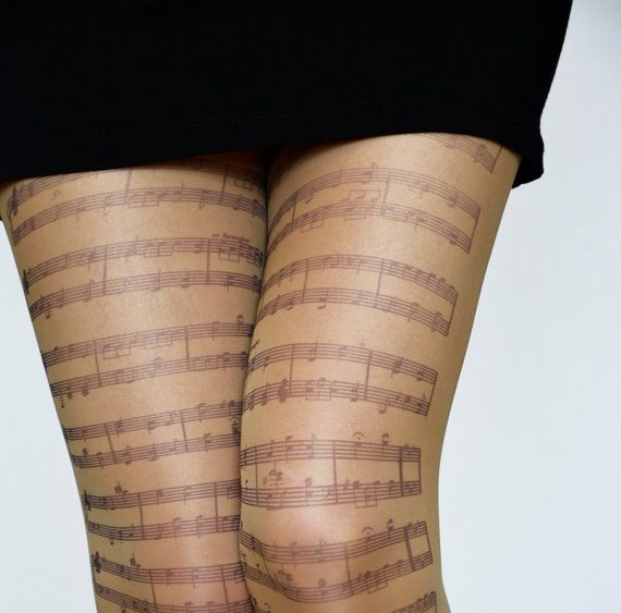 Musical Notes Tights,Transparent Tattoo Tights,Music Clef Print Choir/Orchestra  Leggings,Womens Pantyhose.