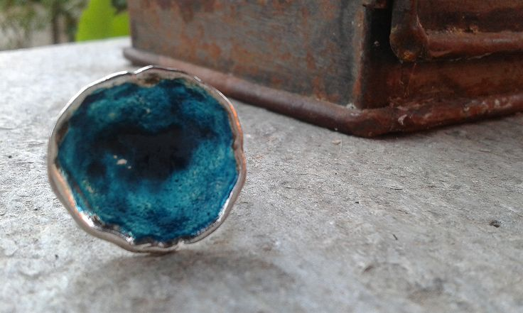"""The big blue"". Handmade jewellery. Ring with enamel."
