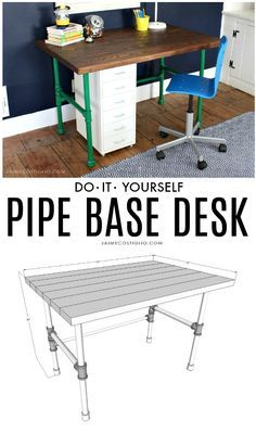 How to construct a pipe base with wood top desk including free plans. Paint the …