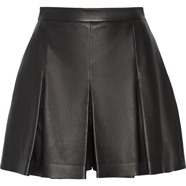 Proenza Schouler Pleated leather shorts (13,175 PHP) ❤ liked on Polyvore featuring shorts, skirts, bottoms, short, saia, black, leather short shorts, black short shorts, leather shorts and black shorts