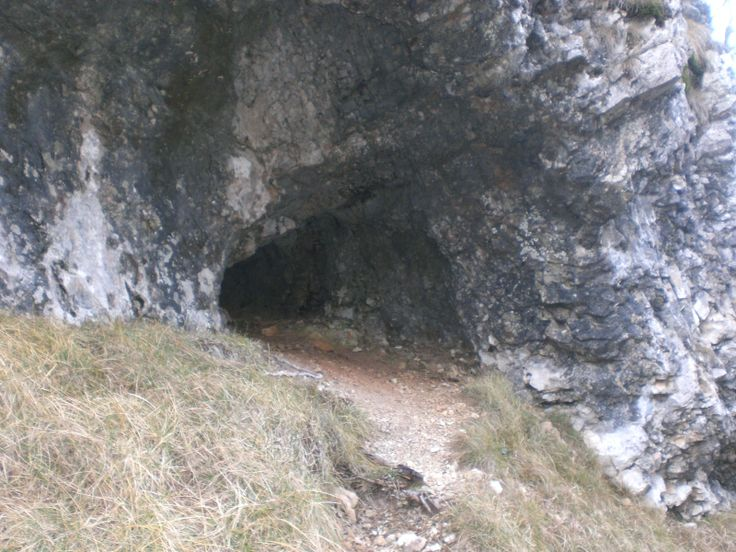A cave under the peak