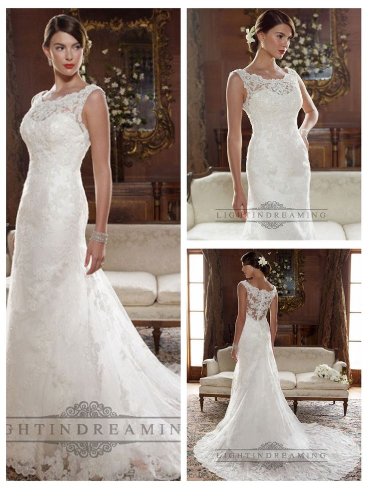Straps Illusion Bateau Neckline and Back A-line Lace Appliques Wedding Dresses